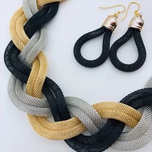 Jewelry - Braided Gold/Silver/Black Necklace and Earring Set